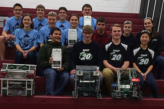 """Shenendehowa Vex Robotics Teams Rocketeers Apollo and Rocketeers Atlantis were champions at this weekend's VEX Robotics Event, """"Bots in the Burgh"""" at Lansingburgh High School."""
