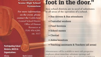 Shenendehowa will be participating in the Capital Region School District Job Fair on Thursday, April 21, 2016, 3 pm to 7 pm at Guilderland in the Senior High School Gymnasium.