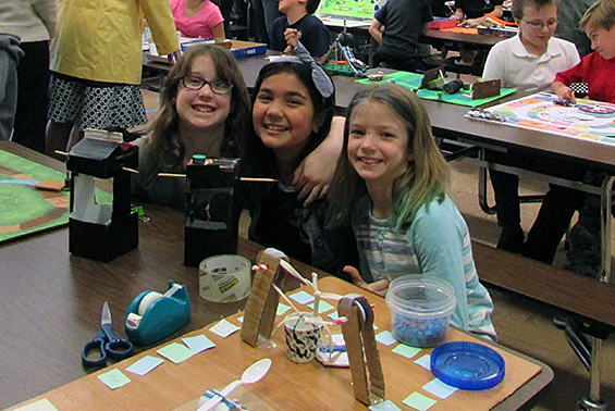 Skano fourth graders share their games made out of simple machines.