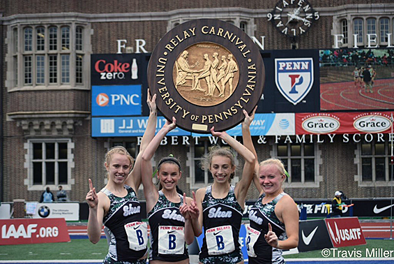 Shen HS track athletes Julia Zachgo, Danielle Jordan, Hannah Reale and Emily Crounse won the 4X8 HS Championship of America Final at Penn Relays!