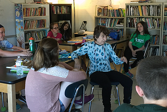 Reading students on Gowana team 6-2 enjoy a discussion with Johanna Reiss, author of the book The Upstairs Room.