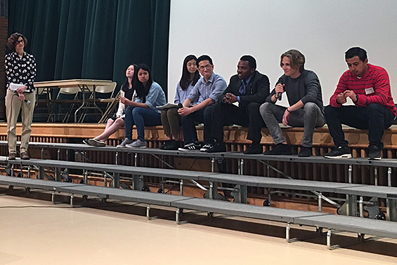 Shen High School students share their experiences about immigrating to the U.S. with filmmaker Jean-Michel Dissard during a panel discussion of the film I Learn America, which was shown to LOTE classes
