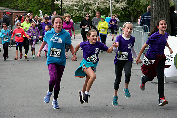 Gr. 4-5 girls in Skano's Sole Sister's Running Club trained hard since March and ran either the 5 K or 10 K at SPAC's Rock and Run race.