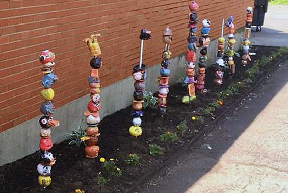 Karigon 5th graders created a Sculpture Garden of Totem Poles.