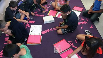 Students in Mrs. Renzi's 5th-grade class at Arongen, hard at work on their spelling word sorts.