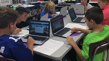 Arongen fifth graders in Mrs. DeGennaro's class busy working on their new chrome books!