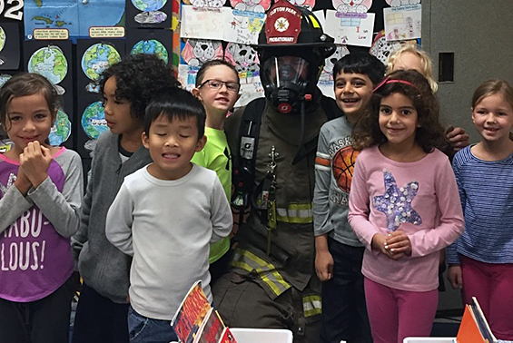 Former Arongen student teaches first graders how to be fire safe!
