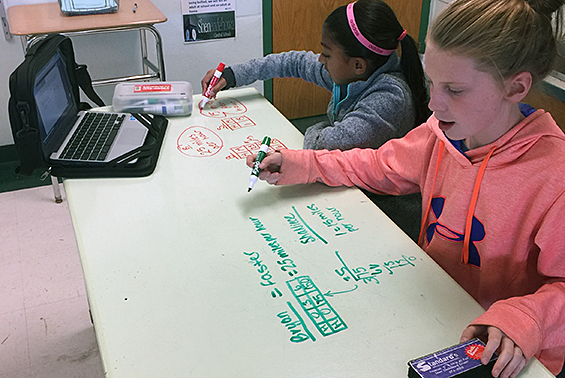 Sixth graders work on their chrome-books and new whiteboard tables to solve ratio word problems.