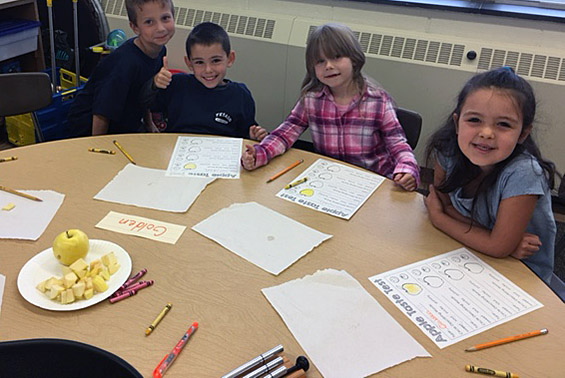 Mrs. Alheim's kindergarteners at Tesago are excited to be apple taste testers and to critique the results.