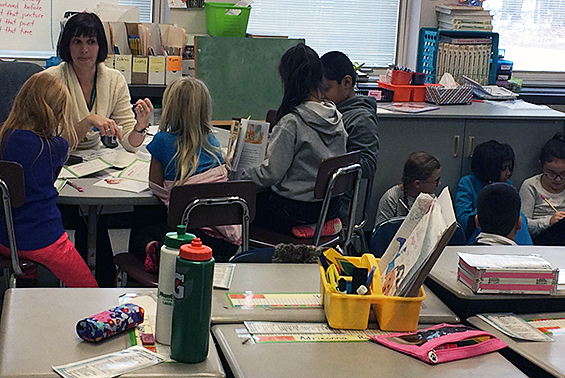 Michelle Cahill's class at Arongen is focused on their assigments as they work in groups and independently.