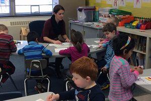 Young minds at work in Kate Jewett's kindergarten class at Karigon.