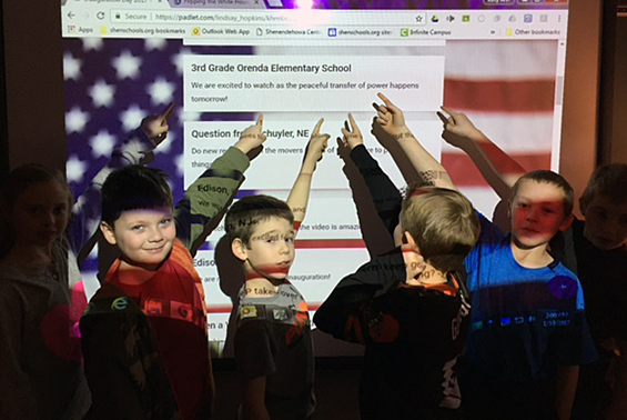 """Mrs Keller's Third Grade class participated in a Virtual Viewing Party on """"Flipping the White House,"""" Inauguration 2017."""