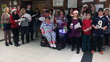 Gowana staff and students welcomed students to the building with their caroling.