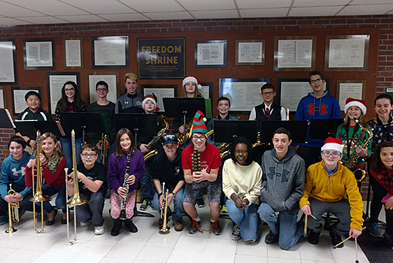 The Gowana Jazz Band played holiday songs for students and staff as they entered the building prior to the winter recess.