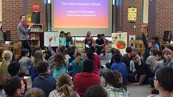 Shatekon 4th grade students participate in a homework debate.