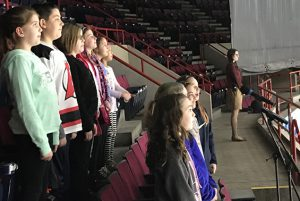 the Tesago Chorus and Select Chorus performed The Star Spangled Banner and God Bless America at the Times Union Center for the Albany Devils Hockey Game.