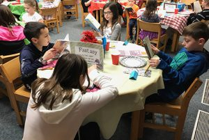 "Emily Pattereson's third grade class at Arongen participated in a ""book tasting"" in the Arongen library."
