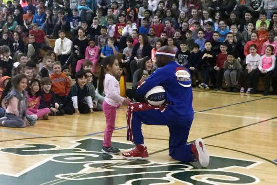 "Tay ""Firefly"" Fisher of the Harlem Globetrotters visited Arongen and presented the Globetrotters ABC's (Action, Bravery, Compassion) of Bullying Prevention Program!"