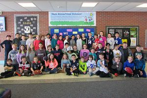 Skano met their goal for their annual Soup-er Bowl can drive. 1,6033 items were collected to be used in the Skano backpack program and to donate to the Jonesville Food Pantry.  Students pictured donated 10 or more items to the cause.  Way to go Skano!