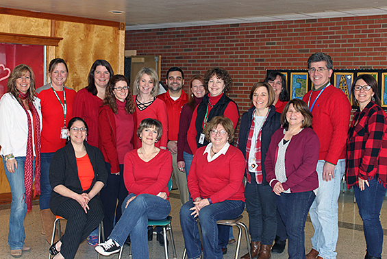 Tesago faculty and staff raised $145 for the American Heart Association's Wear Red Day campaign.