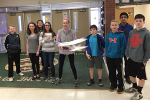 MR. Symonds Tech Class flies a remote controlled aircraft before disassembling it to use the controlling parts for a remote controlled hovercraft.