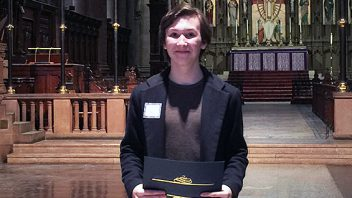 Congratulations to HS student, Padraig Bond, who won the Albany Region Shakespeare Recitation Competition.  In May, Padraig will compete in the national competition at Lincoln Center in New York City.