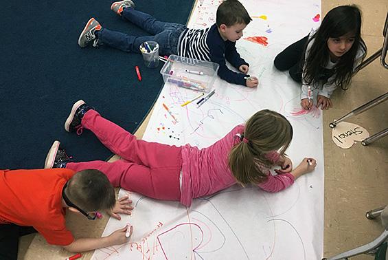 Karigon & Orenda EDK students work on fine motor and writing skills in preparation for Valentine's Day.