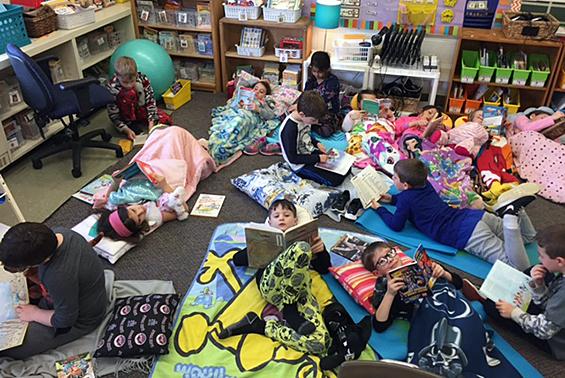 "Orenda second graders enjoying ""Read Across America"" Day."