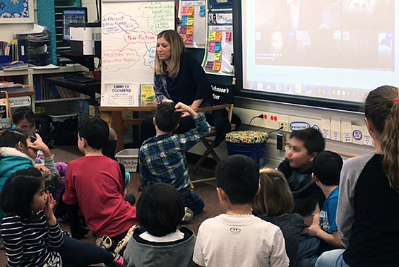Ashley Miller from WNYT reads to Skano's students in celebration of Read Across America Day.