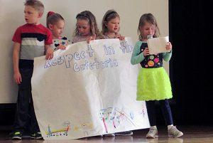 Skano's first grade present ways to be respectful in Skano.