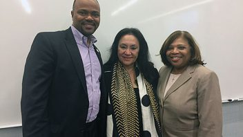 Dr. Robinson speaks at The Exchange at the Microsoft Technology Center in NYC with the Board of Regents Chancellor Betty Rosa and Lorna Lewis from Plainview-Old Bethpage Central School District.