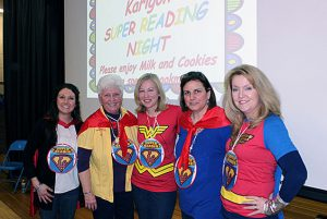 In an effort to promote family literacy, Karigon celebrated a PTA sponsored SUPER FAMILY READING NIGHT on Friday, March 31. Guests enjoyed an evening of fun read alouds, followed by milk and cookies with special guest reader Grama Tippy-Toes/Diane Payette.