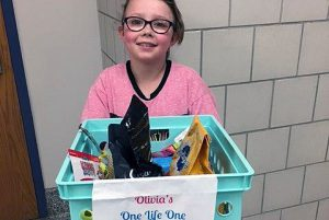 """A student in Mrs. West's 3rd grade class at Arongen collected a total of 100 items for the Saratoga County Animal Shelter through what she called her, """"One Life, One Love Reflection Project."""""""