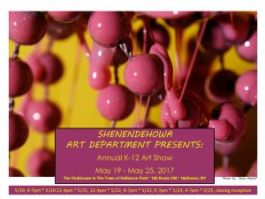 The Shen Art Department presents the Annual K-12 Art Show on May 19-25 at the Clubhouse in the Town of Halfmoon Park