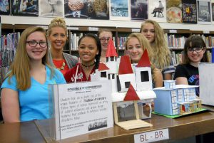 Rebecca Perry's Housing & Interior Design students at High School West created 3D homes from staff donated recyclable materials.