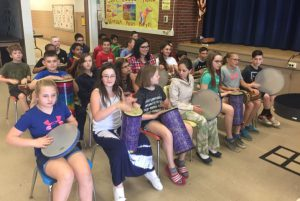 Karigon students in grades 3-5 participated in a Drumming About You assembly presented by Bob Bloom.