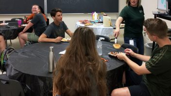 Health teacher Stephanie Carlton made breakfast before homeroom for a group of her high school students who won first place in their Advocacy Public Service Announcement final projects for health class.