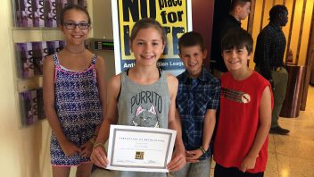 Karigon student council members attended the No Place for Hate Ceremony and 5th grade student council president, Eva Pflomm, received a certificate of recognition for being a Gold Star student nominee. More photos…