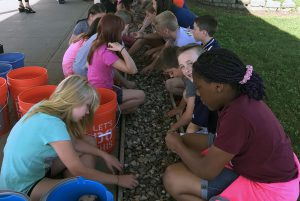 Orenda fifth grades cleaned up the front walkway and began a display of rocks that each student painted in Peggy Salvador's Art classes.