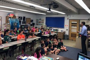 Channel 6 meteorologist Steve LaPointe visited Mrs. Peters and Mrs. Wheeler's class in Orenda.