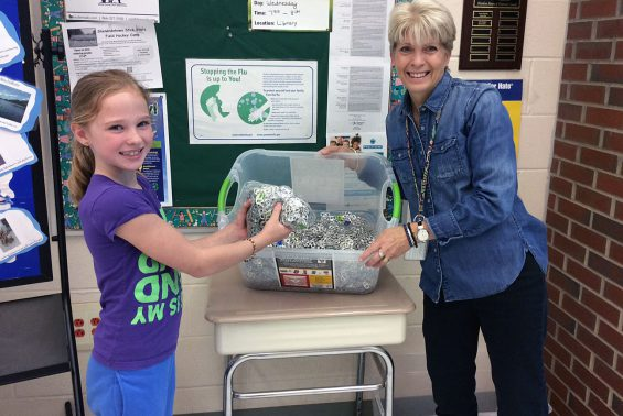 Shatekon students and staff collect pull tabs for the Ronald McDonald House.