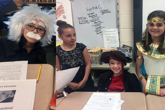 Shatekon third graders in Mrs. Allen's class celebrate the end of biographies with a wax museum.