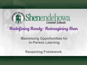 Title page of reopening framework presentation