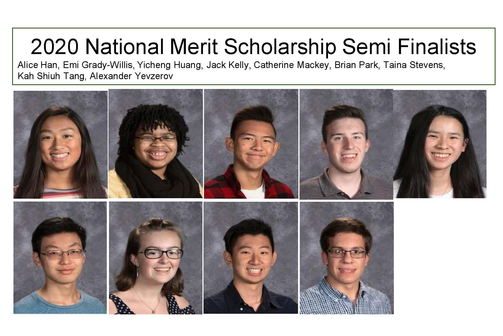 Yearbook photos of semifinalists