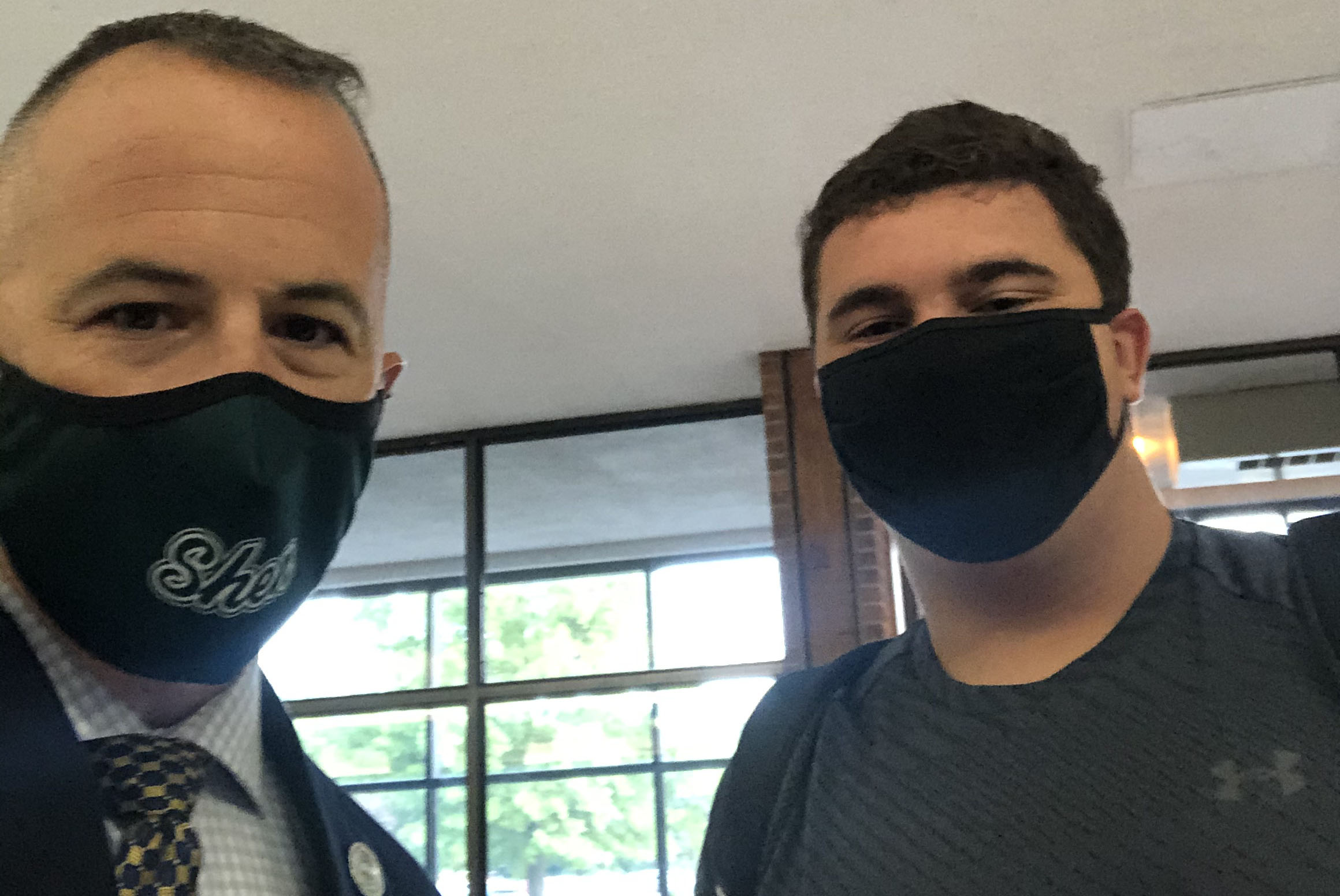 Mr. Agostinoni and a student in a selfie