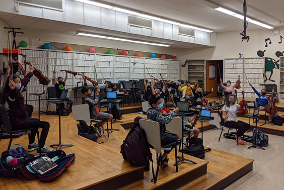 Middle school A-Day/B-Day 6th-grade orchestra students are rehearsing together and playing with JOY in class and from home!