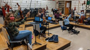 Middle school A-Day/B-Day 6th-grade orchestra students are rehearsing together and playing with JOY in class and from home! More photos…