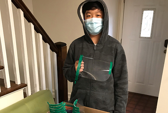 Austin Zhang with face shields