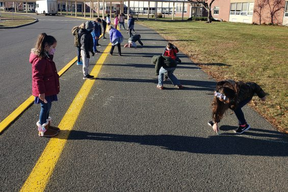 Mrs. L'Amoureux's 1st Graders are studying how the sun can affect their shadows.