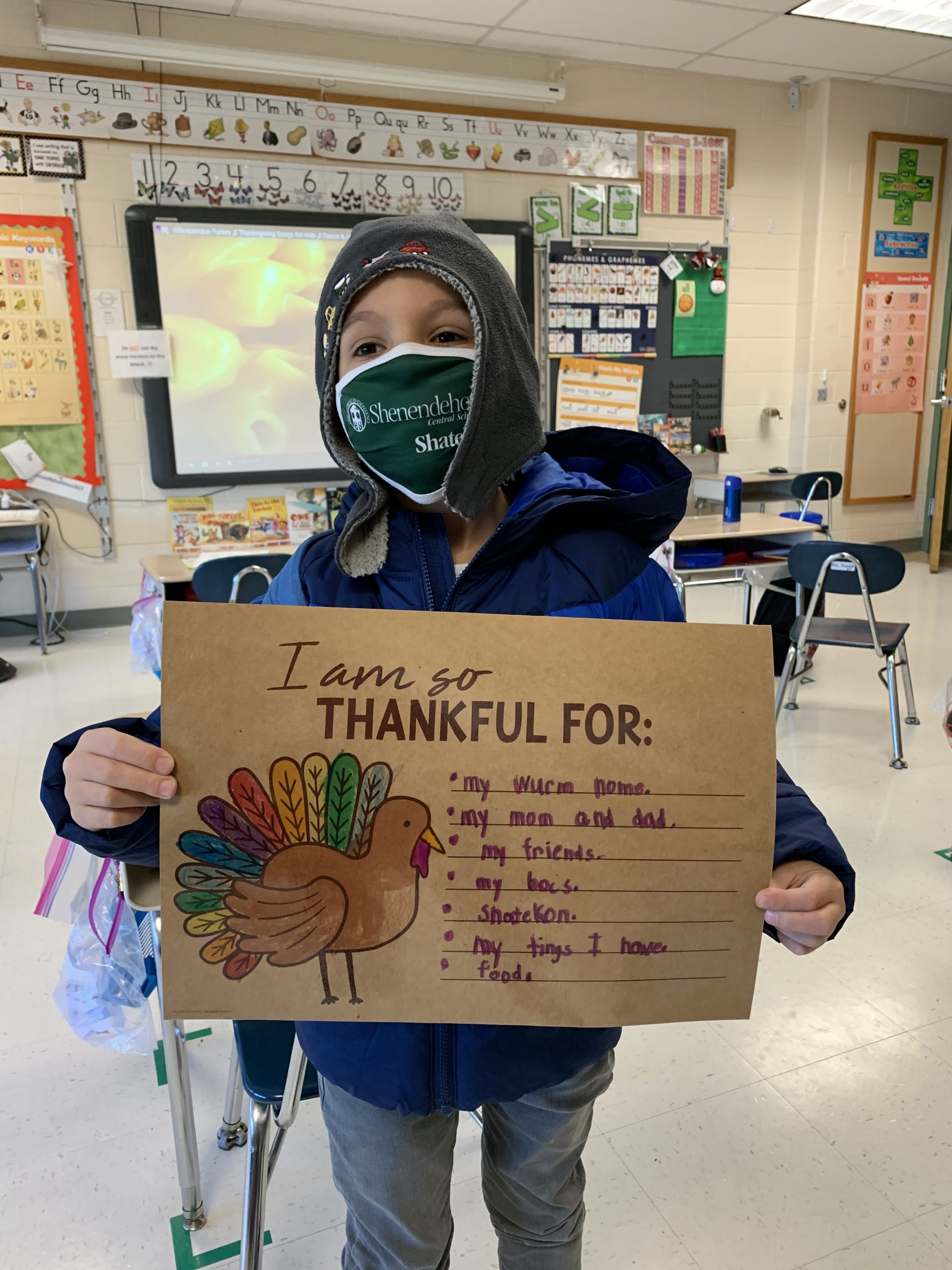 First graders in Mrs. Russell's Class share their thankful thoughts.
